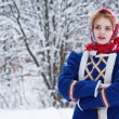 Russian beauty woman in traditional clothes — Fotografia Stock  #64519133