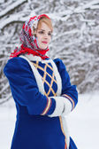 Russian beauty woman in traditional clothes — Stock Photo