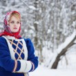 Russian beauty woman in traditional clothes — Stock Photo #64936045