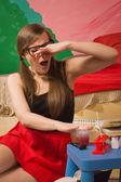 Pretty girl study chemistry in the room — Stok fotoğraf