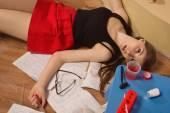 Strangled college girl in a room — Stock Photo