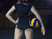 Female volleyball player with a ball — Stock Photo