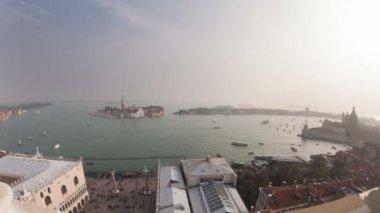 San Giorgio Maggiore island top view from San Marco Campanile, timelapse — Stock Video