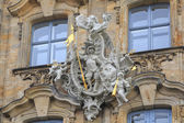 Knight with spear and angels with trumpets statues in Bamberg — Stock Photo