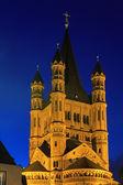 Saint Martin church in Cologne with illumination at night — Stock Photo