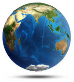 Planet Earth real relief and water — Stock Photo