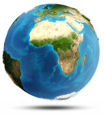 Planet Earth real relief and water — Foto de Stock