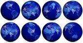 Earth night icons set — Stock Photo