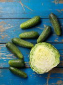 Cabbage and cucumber — Stock Photo