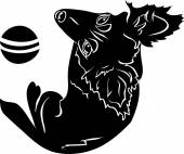 Cute dog with a ball, black stencil — Stock vektor