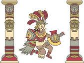 Aztec god between columns — Stock Vector