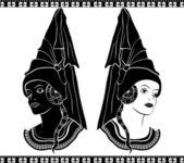 Ladies in medieval hats — Stock Vector
