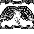 Symbol of silence, girl pressing a finger to her lips, stencil in art-nouveau style — Stock Vector #63725591