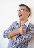Worker in glasses with blue cup laugh — Stock Photo