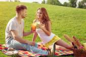 Couple in picnic — Stock Photo