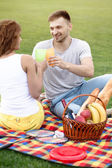 Couple in picnic — Stock Photo