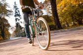 Człowiek z rowerów jazda polna droga — Zdjęcie stockowe