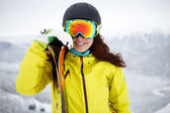 Ski, skier, winter - Closeup of smiling skier woman. — Stock Photo