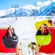 Relax in mountains after skiing — Stock Photo #67924865