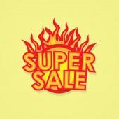 Schild-Verkauf-Angebot mit dem Feuer. — Stockvektor