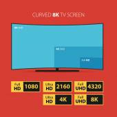 Curved 8K screen with set of HD stickers. — Stock Vector