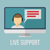 Technical support concept with human icon and monitor. Flat design vector illustration. — Stock Vector