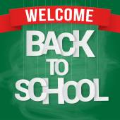 Back to school poster with paper text on chalkboard. Vector illustration — Stock Vector