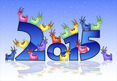 Happy New Year 2015 card with goats — Stock Vector