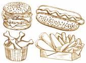 American food set — Stock Vector