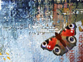 Abstract background with butterfly. Oil paints on canvas — Stockvektor