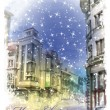 Christmas card  with illustration of city street.  Watercolor st — Stock Vector #54689025
