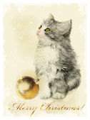 Christmas card  with fluffy kitten and golden ball. Vintage styl — Stock Vector