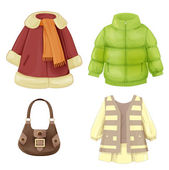 Set of seasonal clothes for girls. Coat, dress, padded parka and — Vector de stock