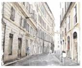Watercolor illustration of city scape.  — Stockvektor