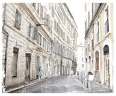 Watercolor illustration of city scape.  — Vecteur