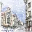 Christmas card  with illustration of city street.  Watercolor st — Stock Vector #59601319