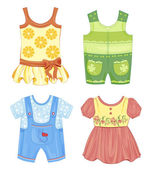 Set of seasonal clothes for kids — Stockvector