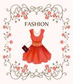 Vintage label with red dress — Stock Vector