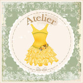 Vintage label with yellow dress decorated with roses — Stock Vector