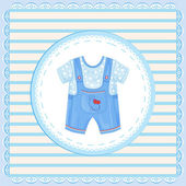 Background with dungarees for baby boy — Stock Vector