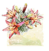 Watercolor illustration of bouquet of lilies — ストックベクタ