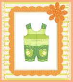 Background with dungarees for baby  — Stock Vector