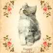 Happy birthday card with fluffy kitten.  Imitation of watercolor — Stock Vector #75448321