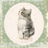 Vintage card with fluffy kitten. Imitation of watercolor paintin — Stock Vector