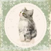 ふわふわの子猫とヴィンテージのカード。水彩絵画の模倣 — ストックベクタ