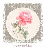 Vintage birthday  greeting card with watercolor rose — Stock vektor
