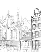 アムステルダムのビンテージ フリーハンド図 — ストックベクタ