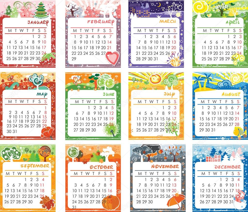 Illustration Calendar Design : Calendar design — stock vector itmuryn
