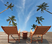 Sky, clouds and palms — Stock Photo