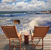 Two guest sun loungers — Stock Photo